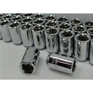 Chrome Tuner Style Hex Lug Nuts, 6 point Set of 16 Lugs For Most Nissan Models