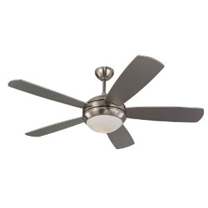 Monte Carlo 5DI52BSD-L Discus 52-Inch Contemporary Ceiling Fan with Light Kit and Five Silver Blades, Brushed Steel