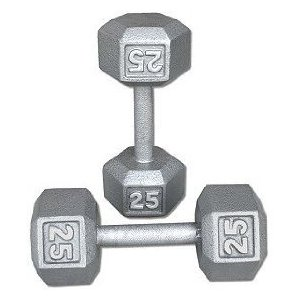 25 lb. Cast Iron Hex Dumbbells (Pair)