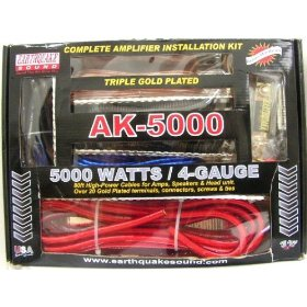 Earthquake Sound AK-5000 Complete Amplifier Installation Kit Triple Gold Plated 5000 Watts/ 4-Gauge