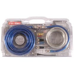 StreetWires Power Station PS04BS 4-gauge amplifier wiring kit with patch cable -- blue power and silver ground