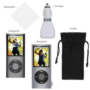 CTA Digital IP-K54 5-in-1 Starter Kit for 4th Generation iPod Nano with Silicone Skin Case & Car Charger