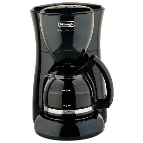 Delonghi dc50b black coffee maker 4cup auto drip glass