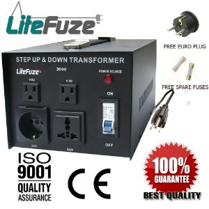 LiteFuze VT-3000 3000 Watt Heavy Duty Voltage Converter Transformer - Step Up/Down 110/120/220/240V - Fully Grounded Cord (Free Euro Plug) - Patented Universal Output Socket