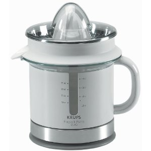 Krups FSD3-12 W Premium Citrus Juicer with Fountain, White and Metal