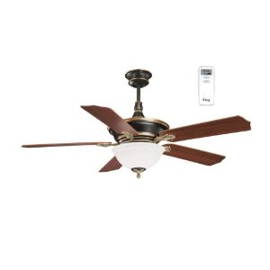 Litex CA52OG5CR Cadoux 52-Inch Five-Blade Ceiling Fan with Remote Control with Scavo Glass Light