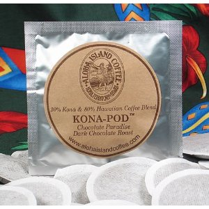 Chocolate Paradise, Organic Kona Hawaiian Coffee Pods, Dark Chocolate Flavor, 24 Coffee Pods