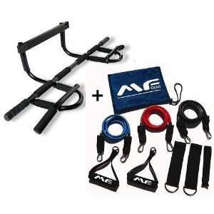 Maximum Muscle Gym All In One Doorway Chin Up Bar Plus 3-Piece Resistance Bands