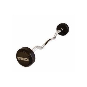 60 lb. TKO Rubber Encased Curl Bar with Tri-Grip