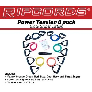 Ripcords Exercise Resistance Bands - Black Sniper Edition 6-pack Exercise Fitness Equipment