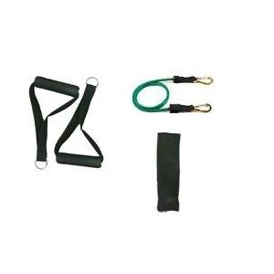 New Green Stackable Exercise Resistance Band Tube Cords w/ free Door Anchor and Exercise Manual (Light). Perfect for use with p90x, slimin6, insanity, crossfit, pilates and physical therapy