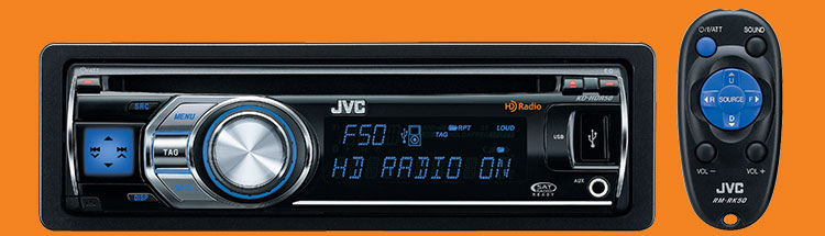 Jvc kdhdr50 car cd usb hd 80w ipod iphone blu tooth ready