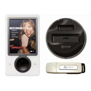 Zune Bundle 30 GB Digital Media Player (White) w/ Microsoft Docking Station & BlueProton 1GB USB 2.0 Flash Drive