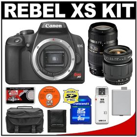 Canon Digital Rebel XS 10.1MP Digital SLR Camera (Black) + Tamron 28-80mm Lens + Tamron 70-300mm Di Macro Lens + 8GB SD Card + LP-E5 Battery + Case + Cameta Bonus Accessory Kit