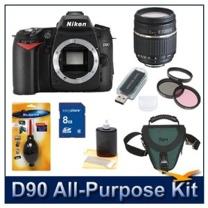 Nikon D90 12.3MP Digital SLR Camera Plus Tamron 18-250mm Lens and Deluxe Filter kit, Deluxe SLR Holster Case, Lens Cleaning Kit, Dust Removal Tool, 8GB SD Memory Card, and USB 2.0 Card Reader. Exclusive All purpose Bundle