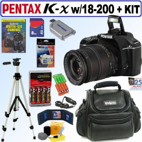 Pentax K-x 12.4 Megapixel Digital SLR Camera (Black) with Sigma 18-200mm f/3.5-6.3 DC Wide Angle Zoom Lens + 8GB Deluxe Accessory Kit