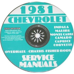1981 Corvette Shop and Service Manual on CD