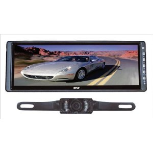 PYLE PLCM103 10.2'' Rearview Mirror Monitor  w/ License Plate Mount Night Vision Camera