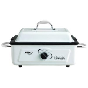Nesco 4805-14-30 5-Quart Electric Roaster with Nonstick Cookwell, White