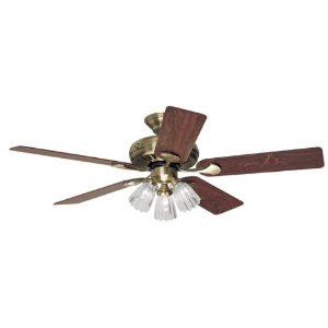 Hunter 20540 Summer Breeze Plus 3-Light 52-Inch 5-Blade Ceiling Fan, Antique Brass with Clear Globes and Rosewood/Medium Oak Blades