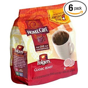 Folgers Home Cafe Classic Roast Coffee, 18-Count Pods (Pack of 6)