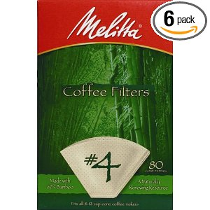 Melitta Bamboo Coffee Filters, #4, 80-Count Boxes (Pack of 6)