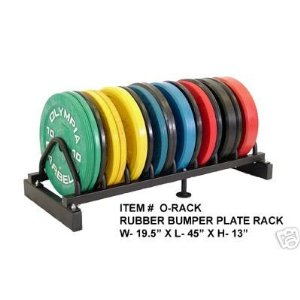 5 Pair Olympic Bumper Plates Set Black w/ Rack