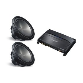2 KENWOOD KFC-W3012 (12 inch 1200 Watt Subwoofers) & KENWOOD KAC-7204 (2 Channel Amplifier) PACKAGE DEAL