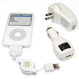 Universal Apple iPod USB Charger Kit - USB Retractable Hotsync Cable - USB Home Travel Charger - USB 12V Cigarette Lighter Charger