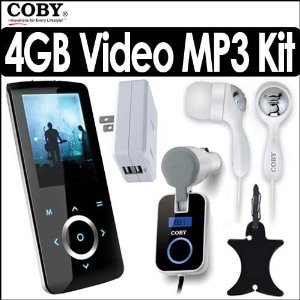 Coby MP705-8G 8GB 2 Inch LCD FM Radio MP3 Touchpad Video Player Bundle With Coby CVE92 Stereo Earphones, Coby CA81 Dual USB AC Adapter/Charger, Coby CA-745 Wireless Car FM Transmitter & Nite Ize CVM-03-01 Curvyman Cord Supervisor Organizer