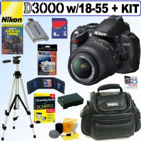 Nikon D3000 10MP Digital SLR Camera with 18-55mm f/3.5-5.6G AF-S DX VR Nikkor Zoom Lens + 8GB Deluxe Accessory Kit
