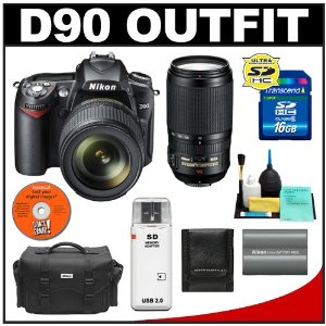 Nikon D90 Digital SLR Camera with 18-105mm DX VR + Nikon 70-300mm AF-S VR Zoom-Nikkor Lens + 16GB Card + Battery + Case + Cameta Bonus Accessory Kit