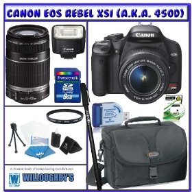 Canon EOS Rebel XSi (a.k.a. 450D) SLR Digital Camera Kit (Black) with 18-55mm IS Lens & 55-250mm IS Lens + Canon Speedlite 270EX Flash + Willoughbys 8GB SDHC Deluxe Accessory Kit