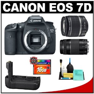 Canon EOS 7D Digital SLR Camera Body + Canon 18-55mm IS Lens + Canon 75-300mm III Lens + Canon BG-E7 Battery Grip + 16GB Card + Cleaning Kit