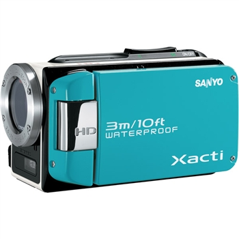 Sanyo vpcwh1bl blue camcorder waterproof 2.5inch lcd 30xoz