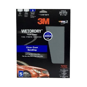3M Imperial Wetordry Sheet, 9 in x 11 in, Grade 2000, Pack of 5 Sheets