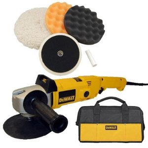 DeWalt DW849 Heavy Duty Variable Speed Polisher along with a Professional 3 Pad Buffing and Polishing Kit