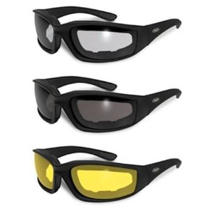3 PAIRS: PADDED MOTORCYCLE RIDING GLASSES - DAY NIGHT DAWN DUSK SMOKED CLEAR YELLOW Shatterproof Polycarbonate Lenses Matte black frame UV400 Filter for Maximum UV Protection Scratch Resistant Coating Soft Touch Frame Rubber Ear Pads