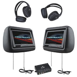 Power Acoustik HD-88BK 8.8-Inch Pre-Loaded Universal Headrest Monitors with 2 RF Headpones (Black)
