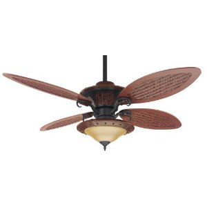 Hunter Fan 23895 4-Blade 56-Inch Royal Palm Ceiling Fan with Faux Plantation Leather Finish and Antique Black Trim