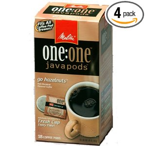 Melitta One:One Java Pods, Go Hazelnuts, Hazelnut Flavored Coffee, 18-Count Pods (Pack of 4)