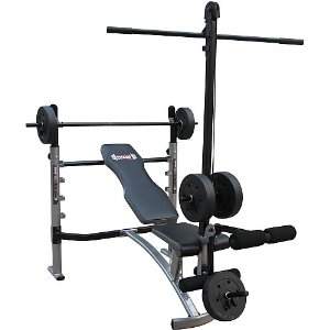 Body Champ Mid-Width Weight Bench with Lat Tower & Arm Curl