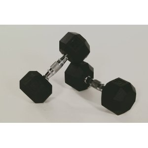 8-Sided Rubber Encased Dumbbell with Contoured Handle - Troy Barbell - Sold Individually