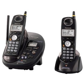 Remanufactured Panasonic KX-TG2432B 2.4 GHz FHSS GigaRange Dual-Handset Cordless Phone System with Digital Answering System - Black
