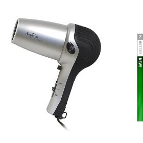 Sunbeam Hospitality 1637 Powerful Tourmaline 1875 Watt Hand Held Hair Dryer with Powered Rectractable Cord (Cord Reel) & Concentrator