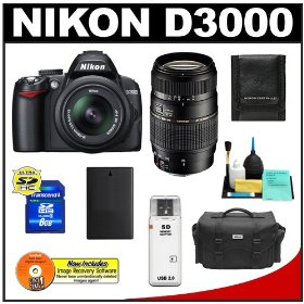 Nikon D3000 10MP Digital SLR Camera with 18-55mm f/3.5-5.6G AF-S DX VR Nikkor Zoom Lens with Tamron 70-300mm Di LD Zoom Lens (Nikon MT) + 8GB Card + EN-EL9a Battery + Nikon Gadget Bag + Accessory Kit
