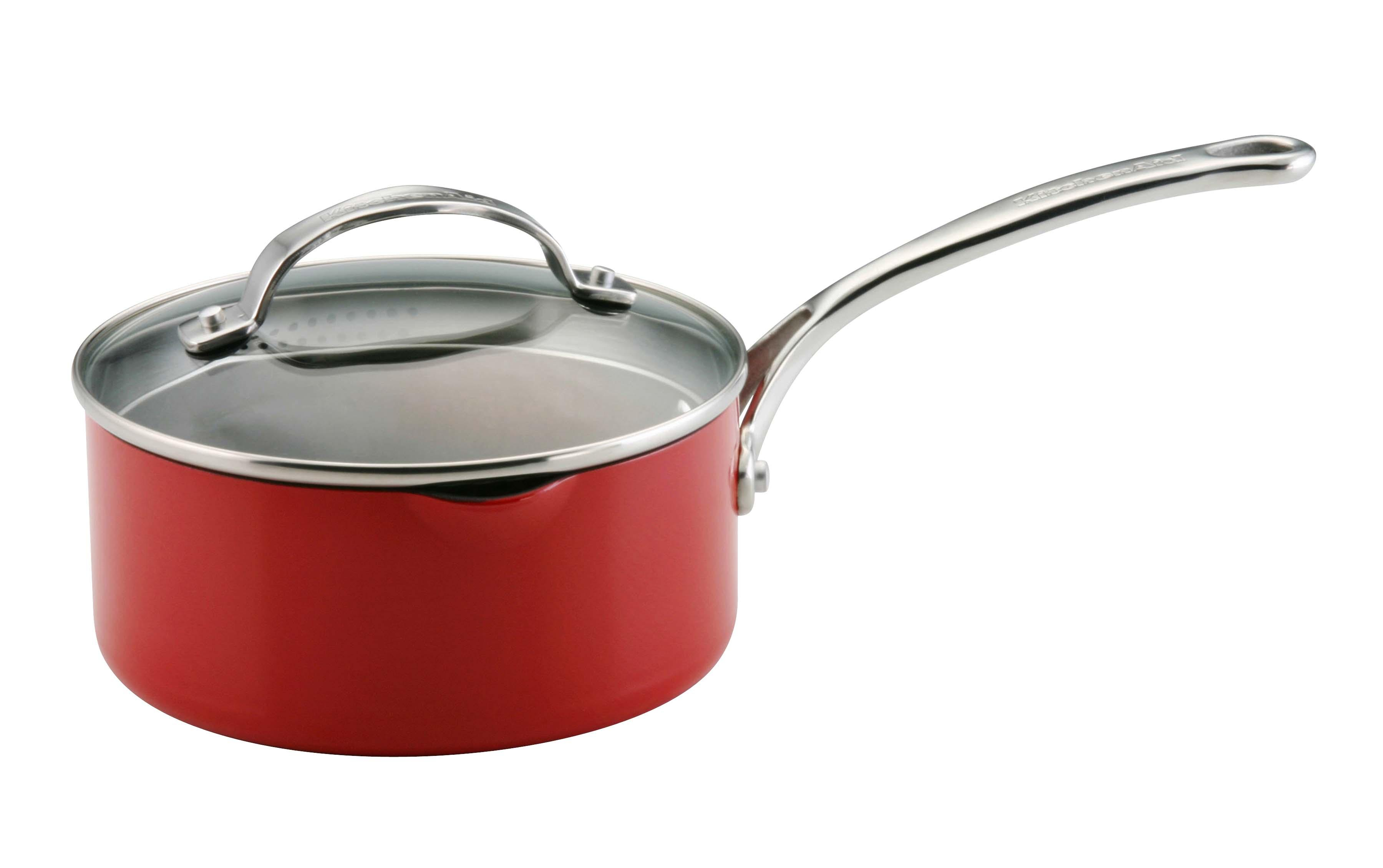 Kitchenaid 12293 red saucepan straining covered 2qt