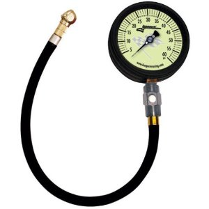 "Longacre Racing Magnum Tire Air Pressure Gauge 0-15 PSI by 1/4 lb with 17"" ultra flex hose and carrying case3-3/4"" Glow in the Dark Face"