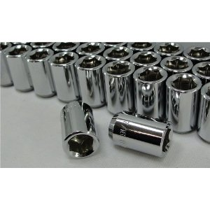 Chrome Tuner Style Hex Lug Nuts, 6 point Set of 20 Lugs For Most Classic Cadillac Models