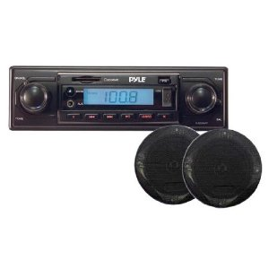 PYLE PLR13MKIT AM/FM-MPX MP3 Playback with USB/ SD/ AUX-In and a Pair of 4-Inch Speakers